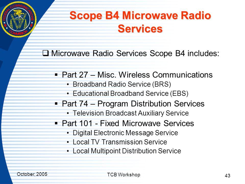 Scope B4 Microwave Radio Services