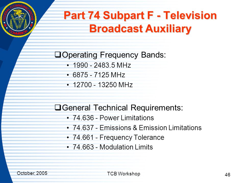 Part 74 Subpart F - Television Broadcast Auxiliary
