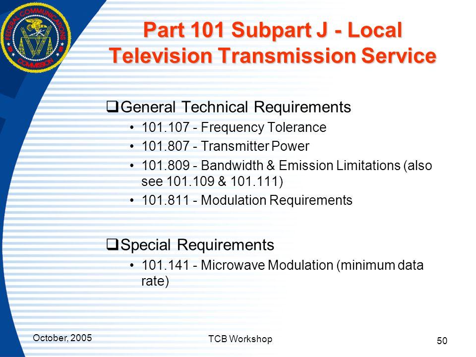 Part 101 Subpart J - Local Television Transmission Service