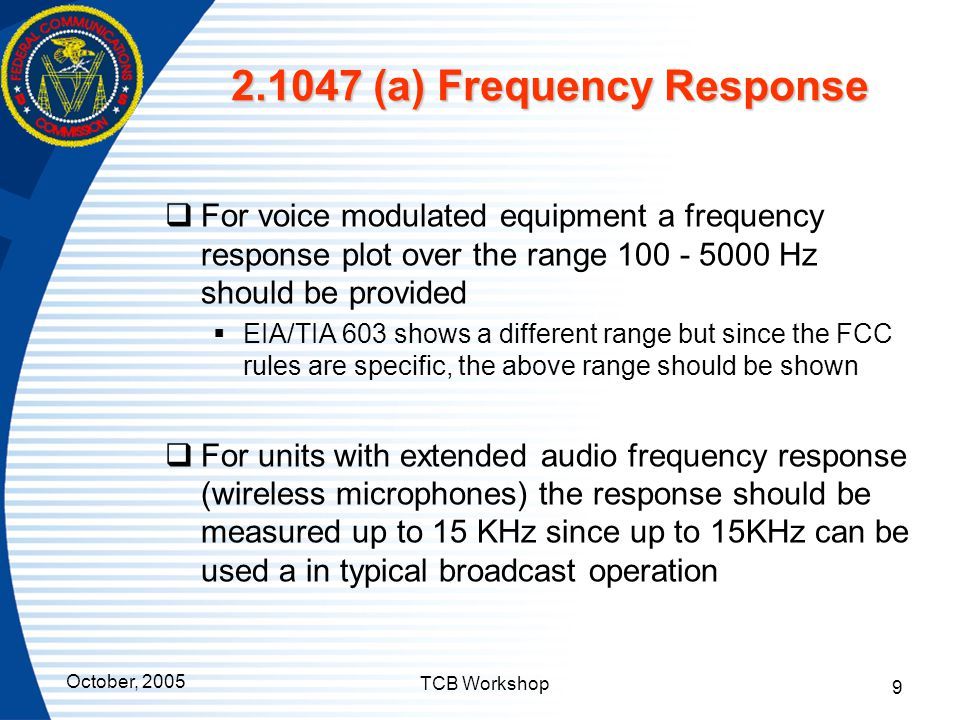 2.1047 (a) Frequency Response
