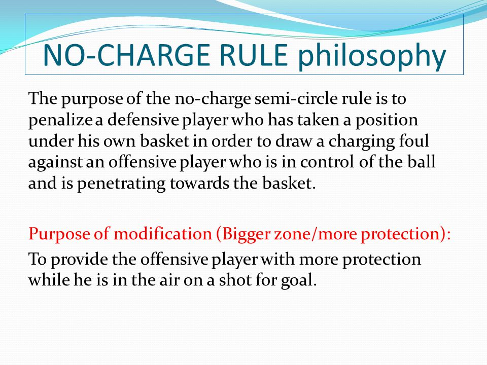 NO-CHARGE RULE philosophy