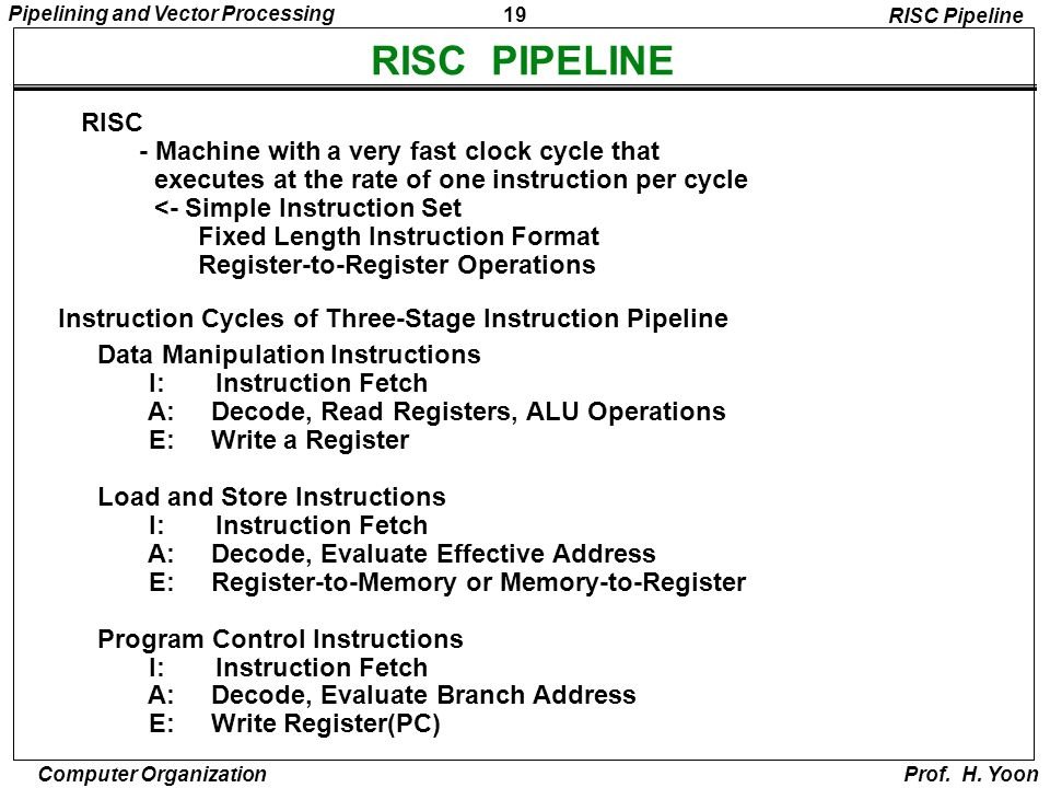 RISC PIPELINE RISC - Machine with a very fast clock cycle that