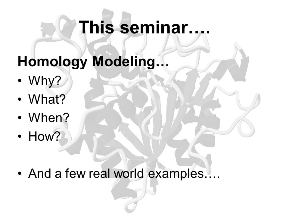 This seminar…. Homology Modeling… Why What When How