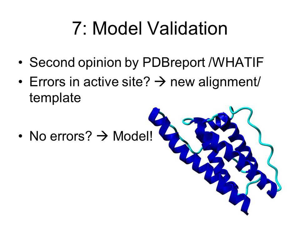 7: Model Validation Second opinion by PDBreport /WHATIF