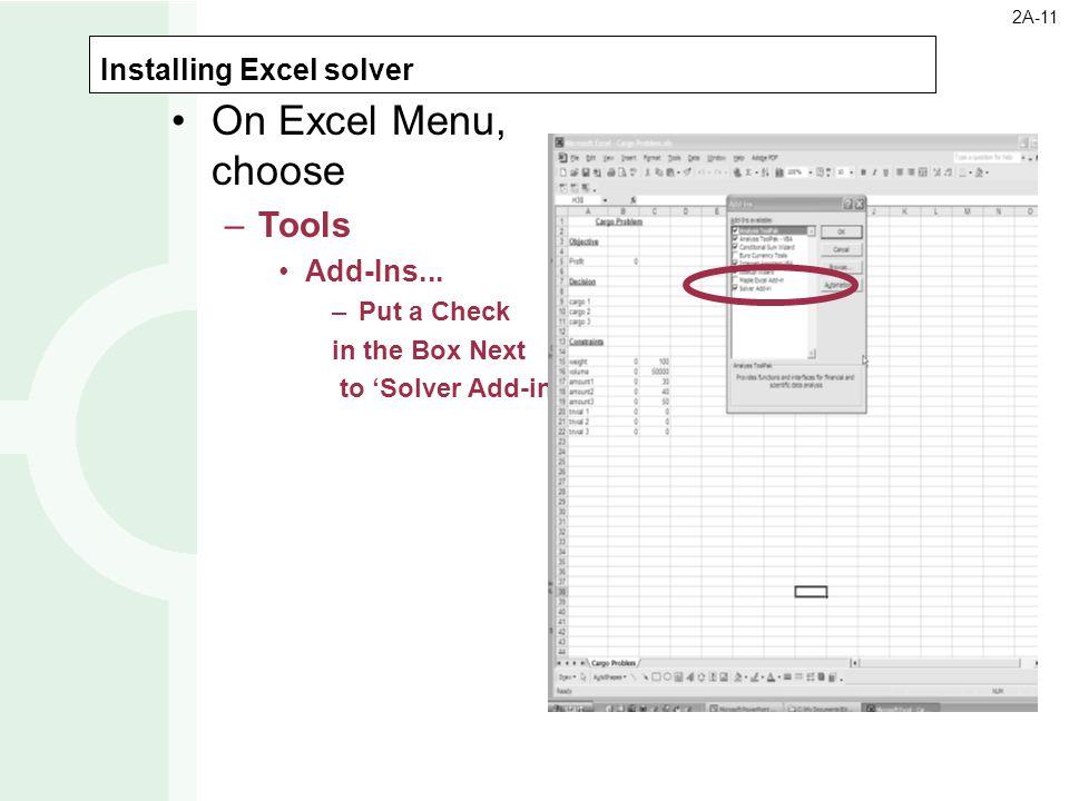 Installing Excel solver