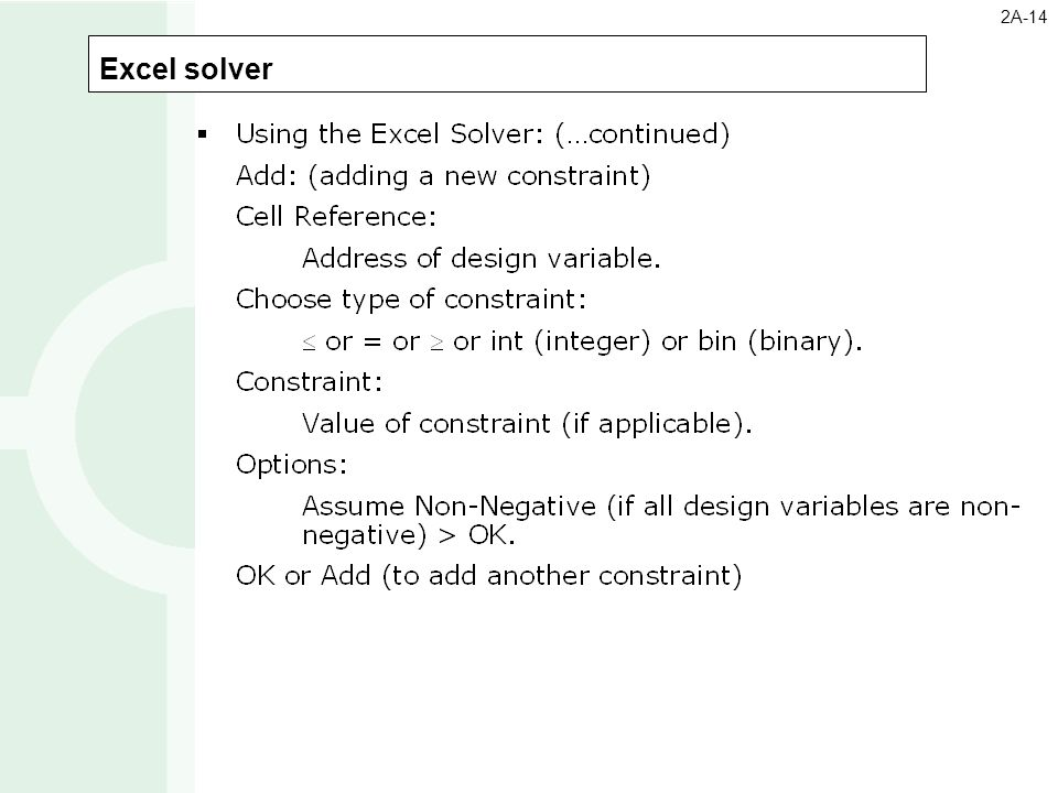 2A-14 Excel solver 7