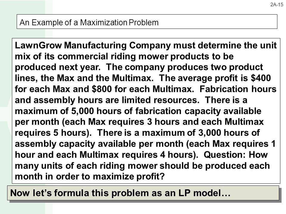 An Example of a Maximization Problem