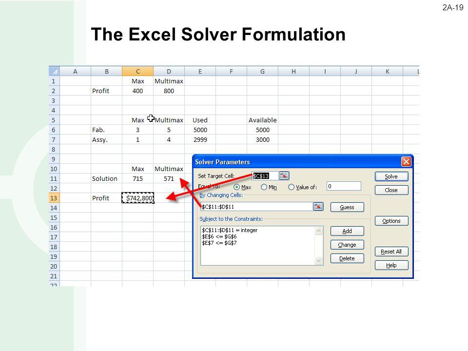 The Excel Solver Formulation