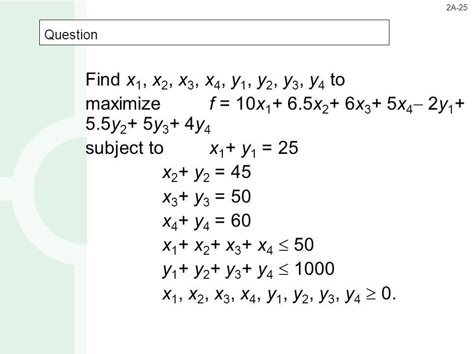 maximize f = 10x1+ 6.5x2+ 6x3+ 5x4 2y1+ 5.5y2+ 5y3+ 4y4
