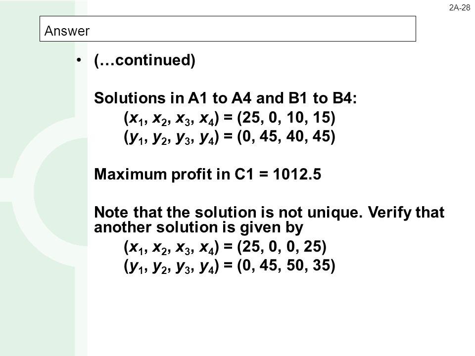 Solutions in A1 to A4 and B1 to B4: (x1, x2, x3, x4) = (25, 0, 10, 15)