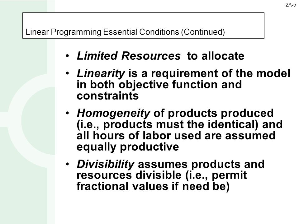 Linear Programming Essential Conditions (Continued)