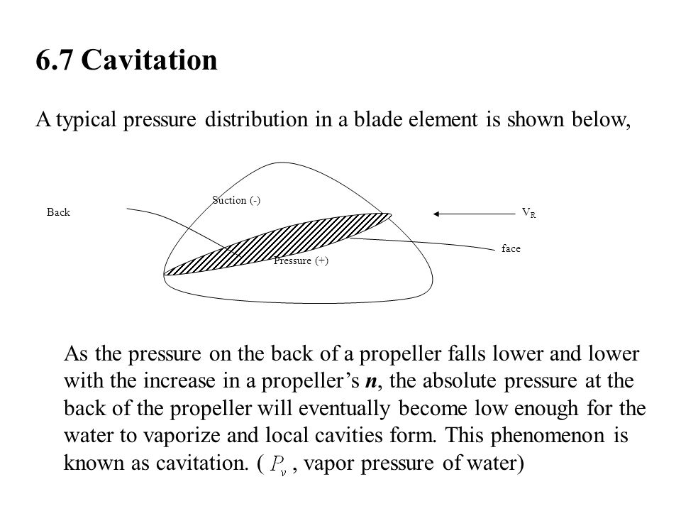 6.7 Cavitation A typical pressure distribution in a blade element is shown below, Pressure (+) Suction (-)