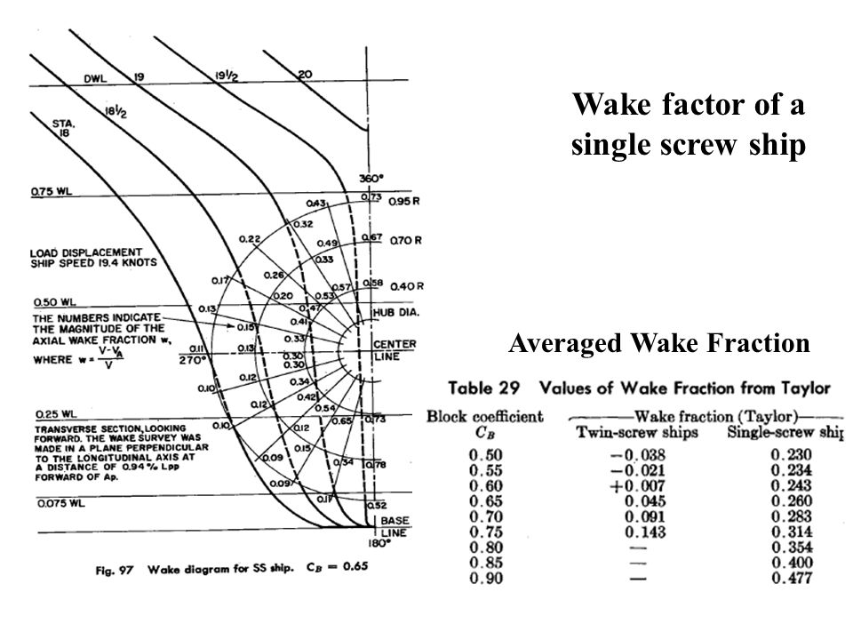 Wake factor of a single screw ship Averaged Wake Fraction