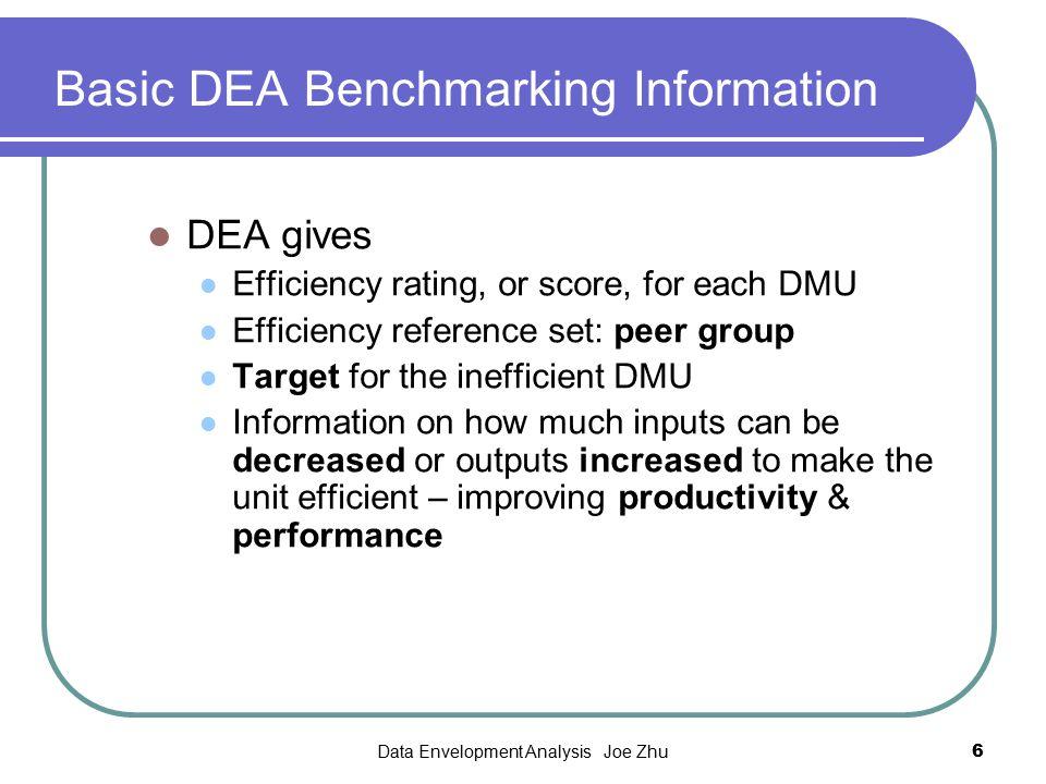 Basic DEA Benchmarking Information