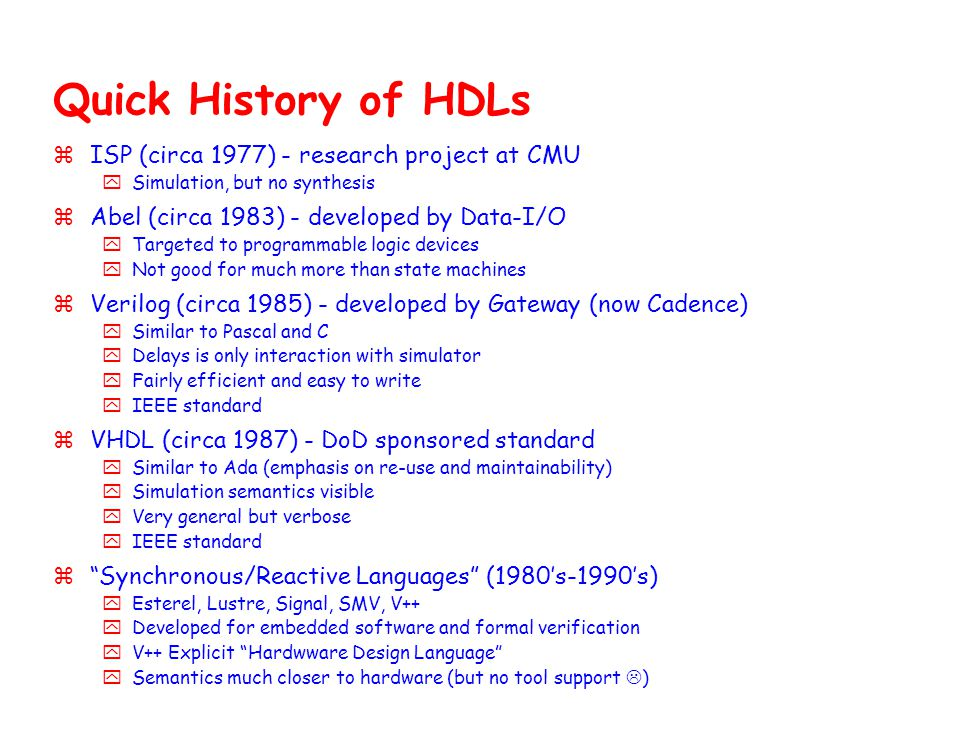 Quick History of HDLs ISP (circa 1977) - research project at CMU