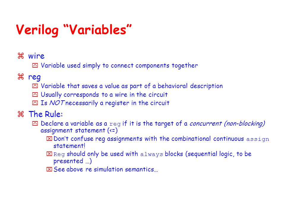 Verilog Variables wire reg The Rule: