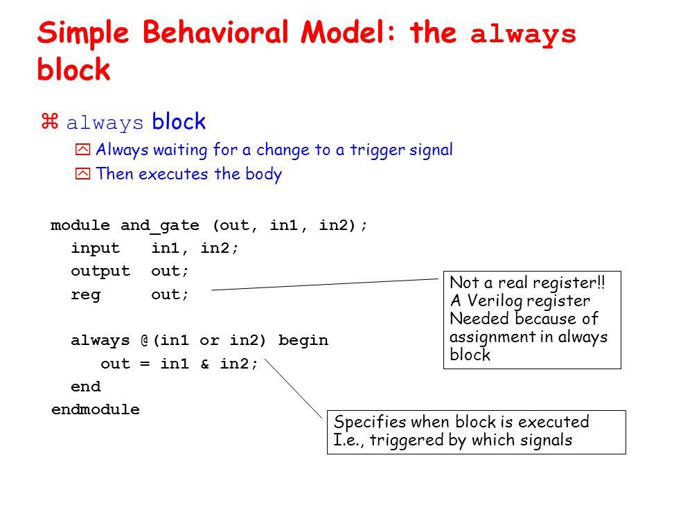 Simple Behavioral Model: the always block