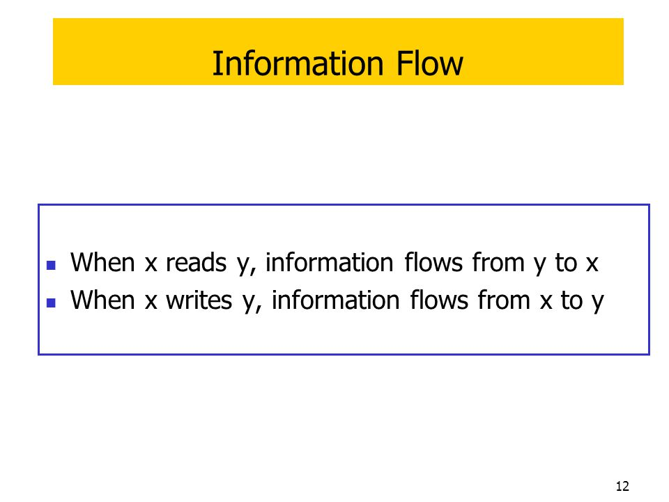 Information Flow When x reads y, information flows from y to x