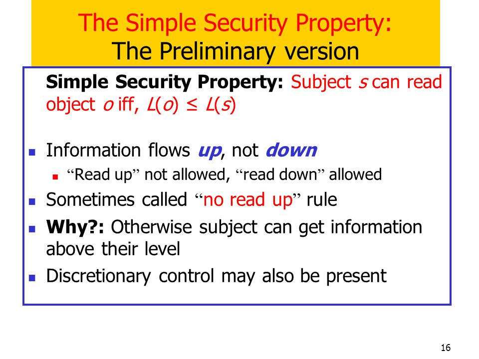 The Simple Security Property: The Preliminary version