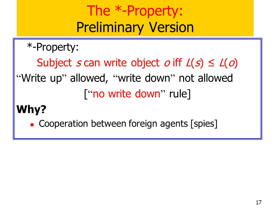 The *-Property: Preliminary Version
