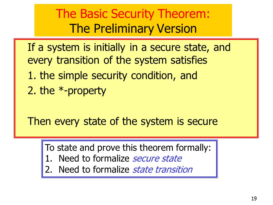 The Basic Security Theorem: The Preliminary Version