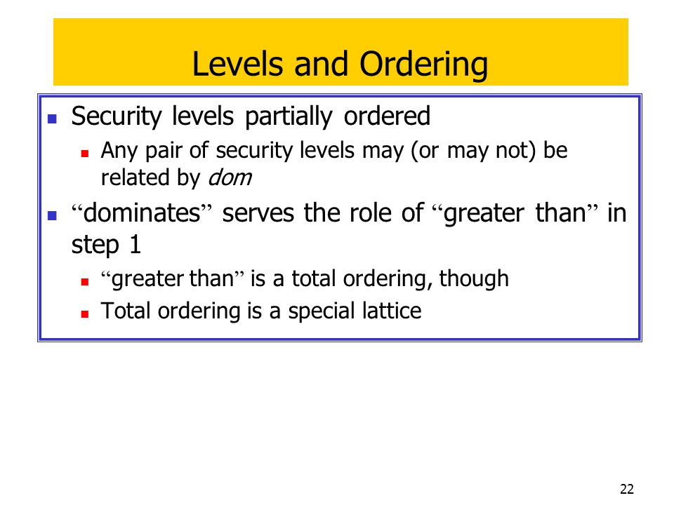 Levels and Ordering Security levels partially ordered