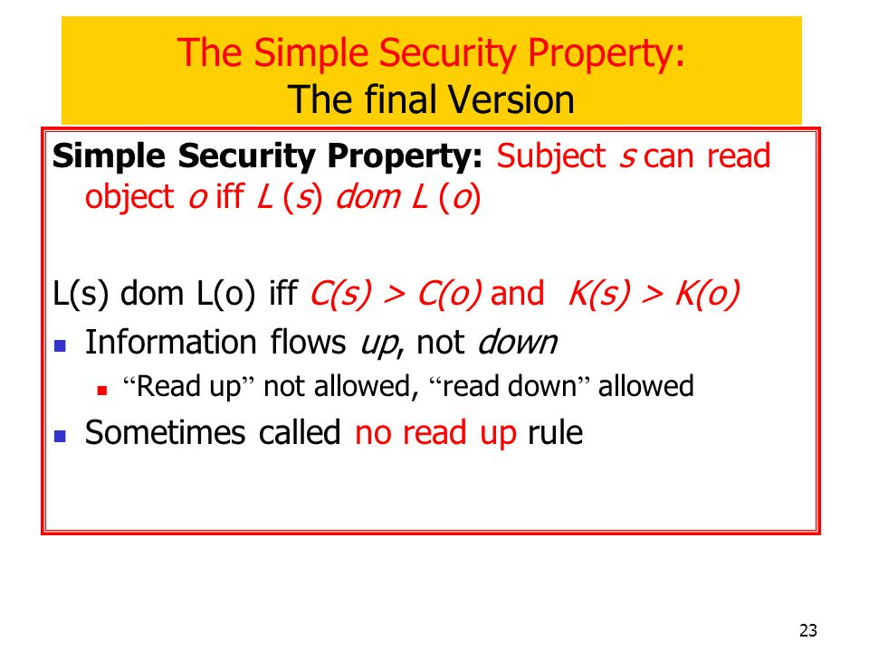 The Simple Security Property: The final Version