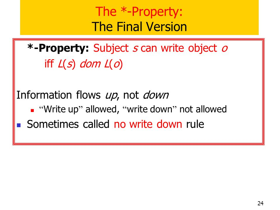 The *-Property: The Final Version