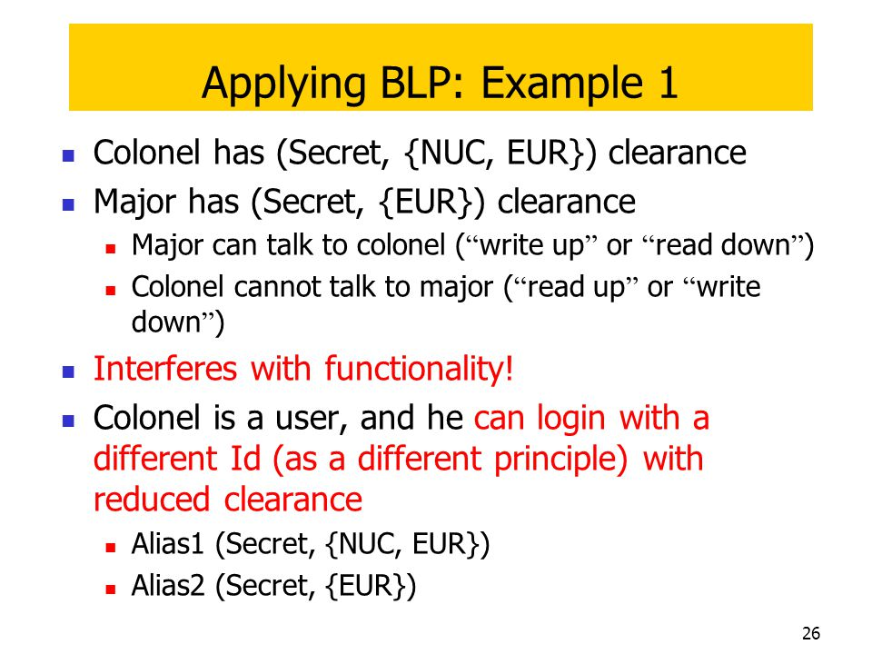 Applying BLP: Example 1 Colonel has (Secret, {NUC, EUR}) clearance