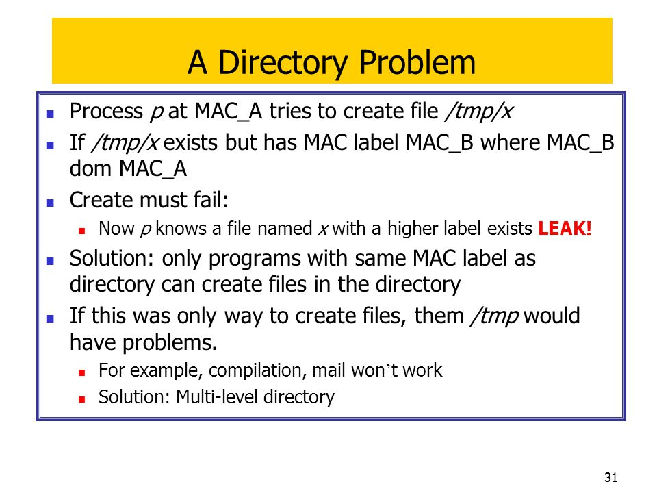 A Directory Problem Process p at MAC_A tries to create file /tmp/x
