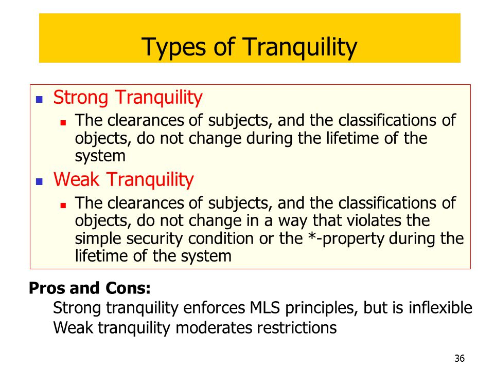 Types of Tranquility Strong Tranquility Weak Tranquility