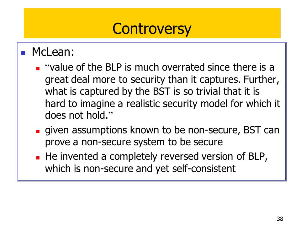 Controversy McLean: