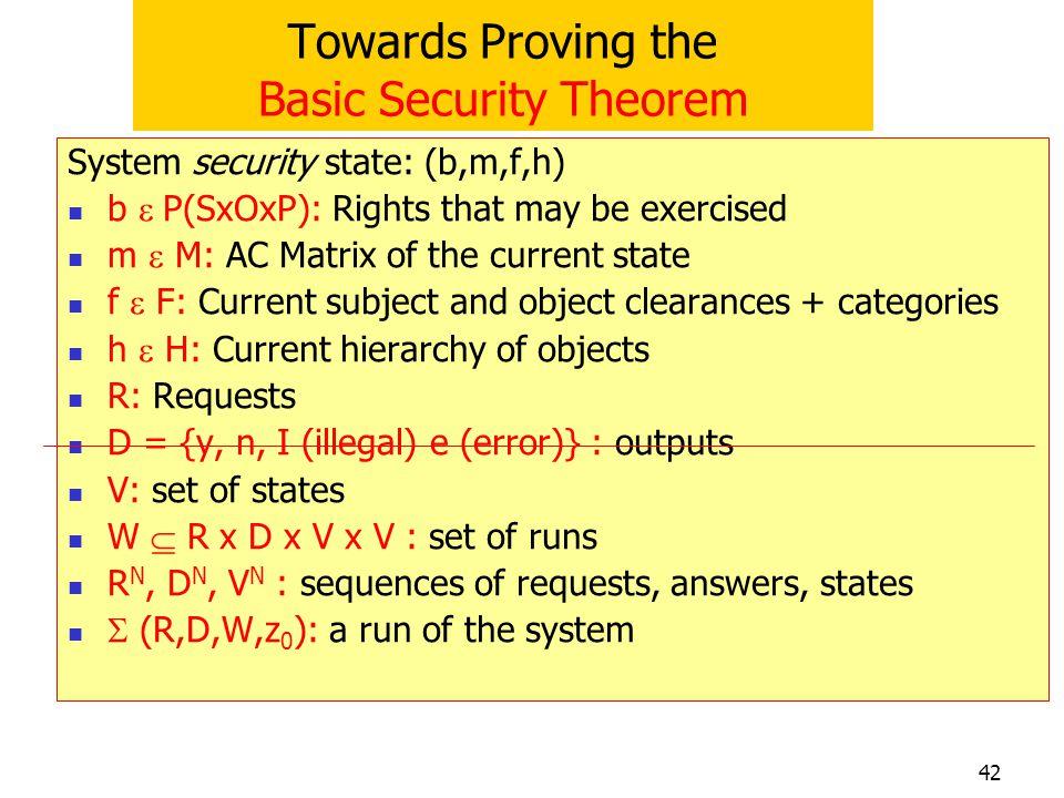 Towards Proving the Basic Security Theorem