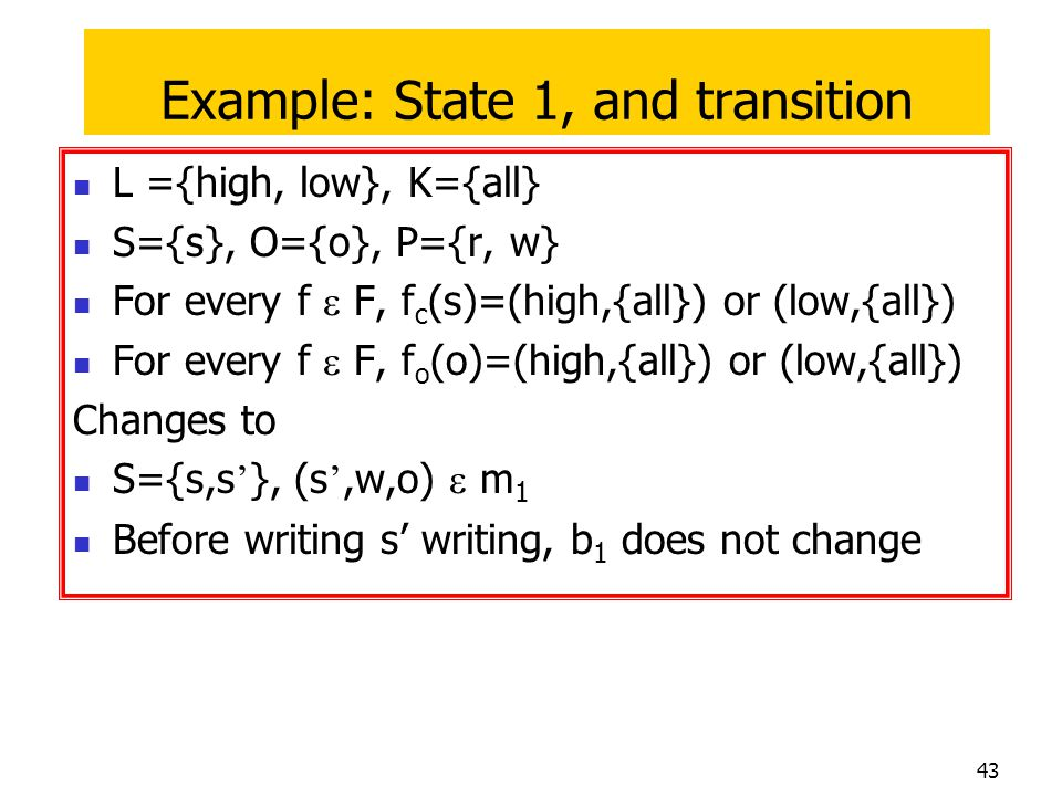 Example: State 1, and transition