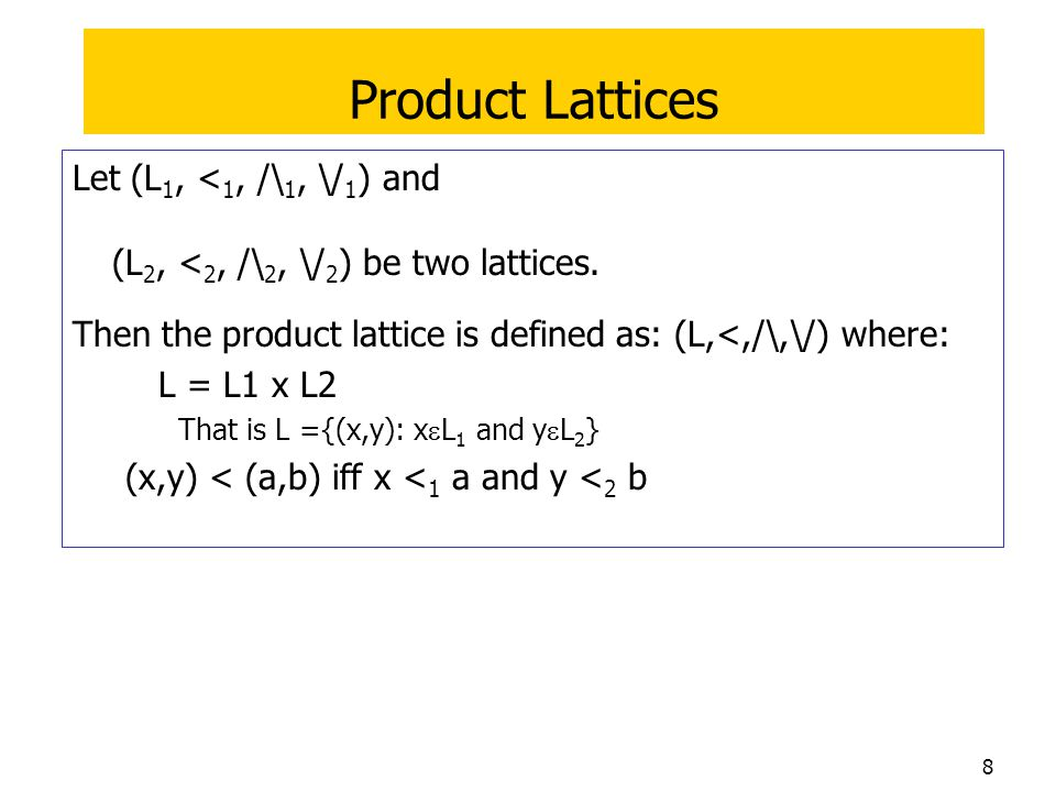 Product Lattices Let (L1, <1, /\1, \/1) and