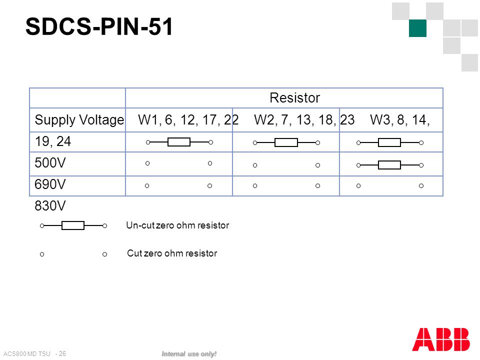 SDCS-PIN-51 Resistor. Supply Voltage W1, 6, 12, 17, 22 W2, 7, 13, 18, 23 W3, 8, 14, 19, 24.