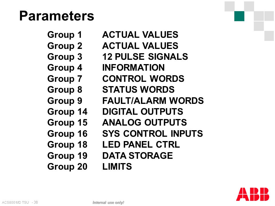 Parameters Group 1 ACTUAL VALUES Group 2 ACTUAL VALUES