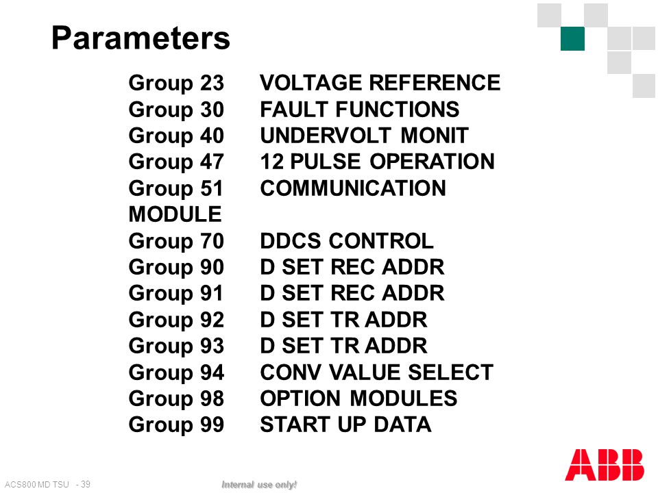Parameters Group 23 VOLTAGE REFERENCE Group 30 FAULT FUNCTIONS