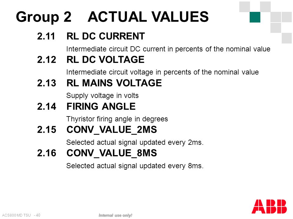 Group 2 ACTUAL VALUES 2.11 RL DC CURRENT
