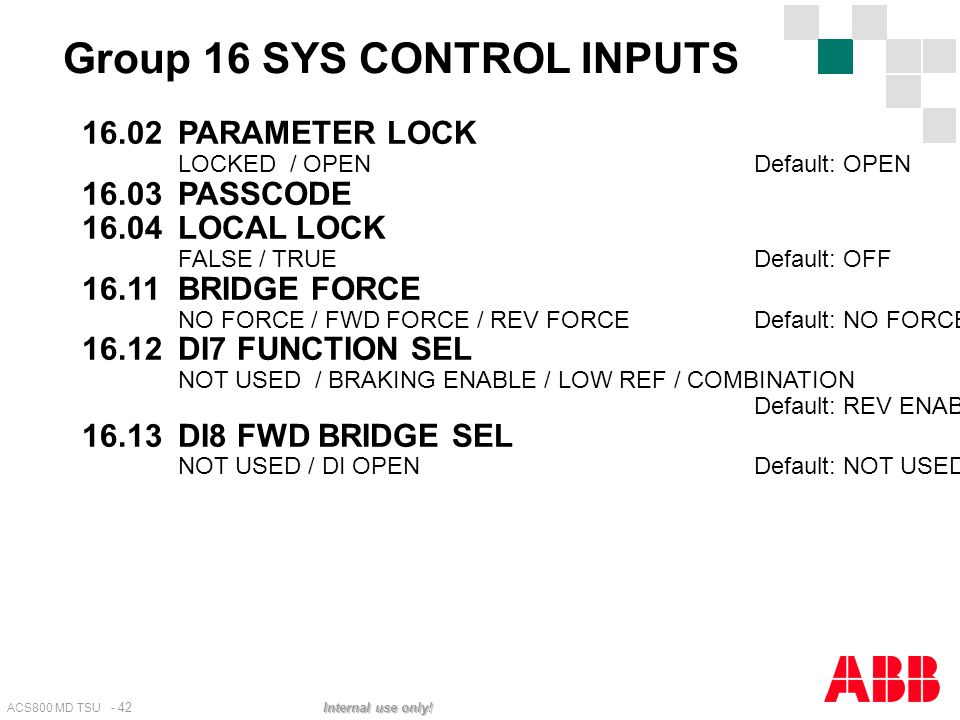 Group 16 SYS CONTROL INPUTS