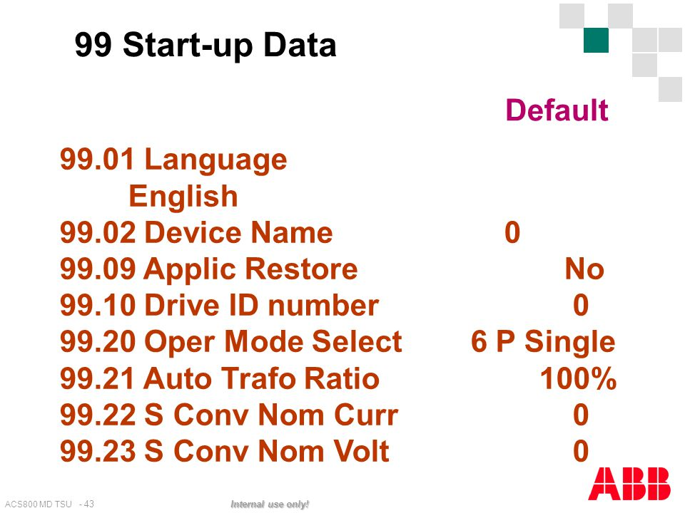 99 Start-up Data Default 99.01 Language English 99.02 Device Name 0