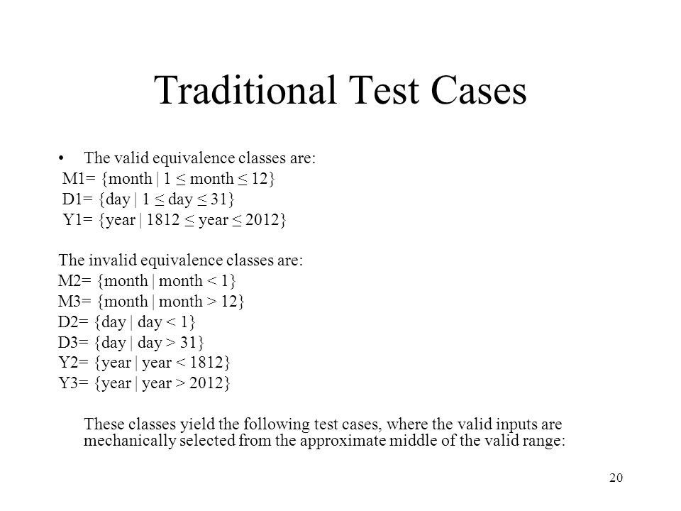 Traditional Test Cases