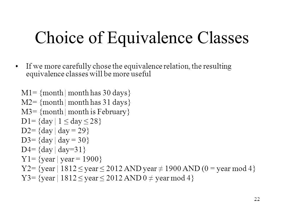 Choice of Equivalence Classes