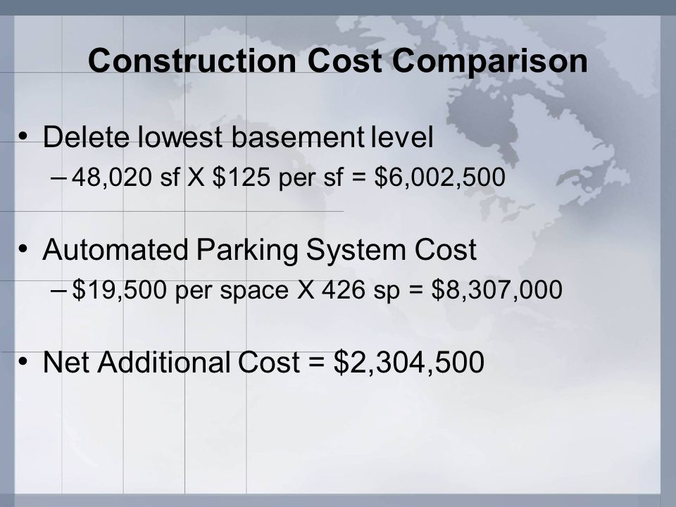 Construction Cost Comparison