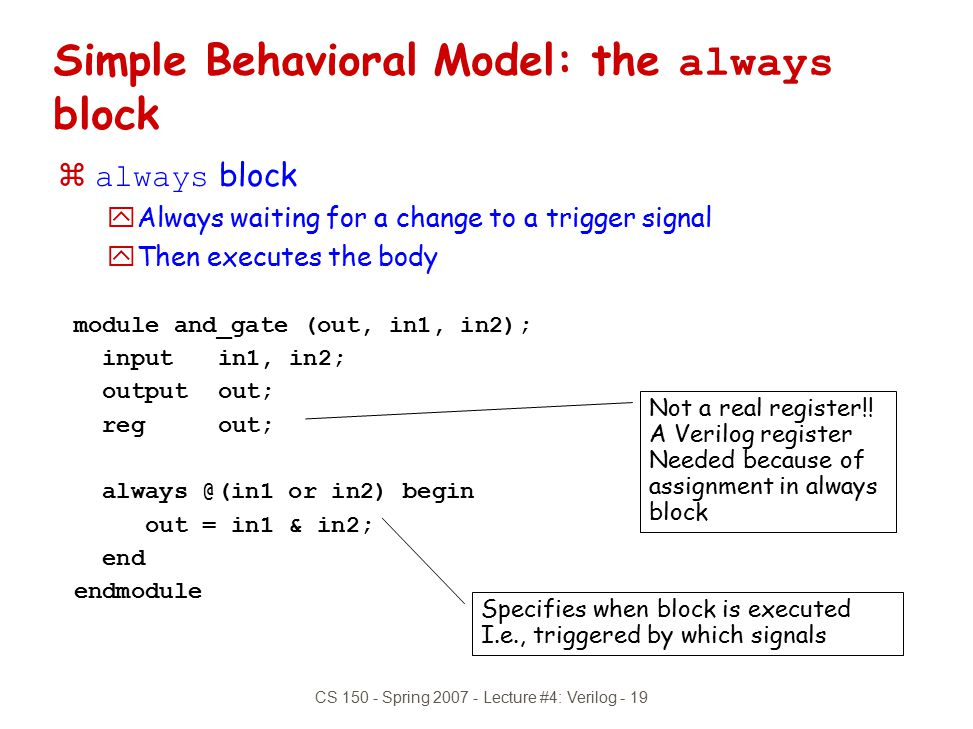 Simple Behavioral Model: the always block