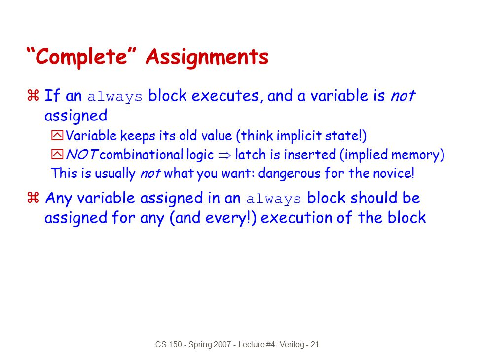 Complete Assignments