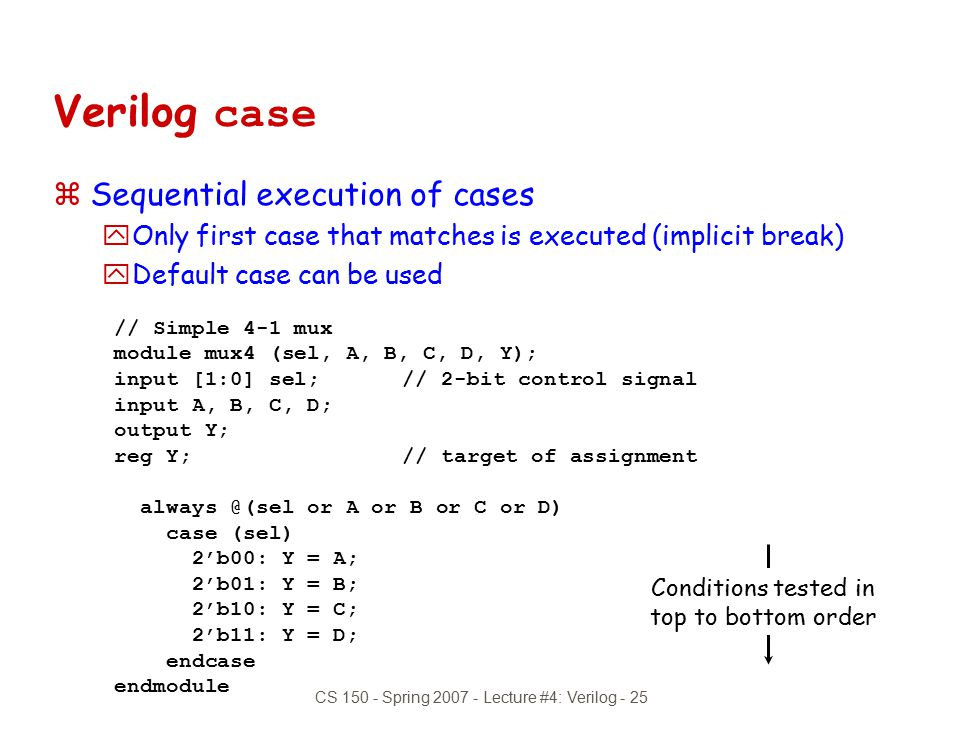 Verilog case Sequential execution of cases