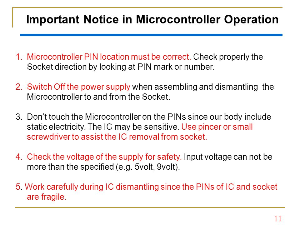 Important Notice in Microcontroller Operation