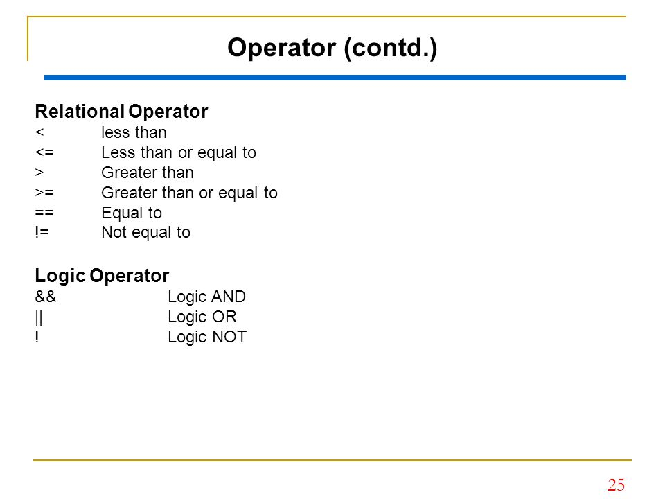 Operator (contd.) Relational Operator Logic Operator < less than