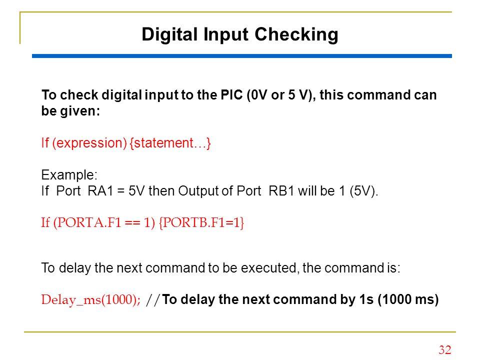 Digital Input Checking